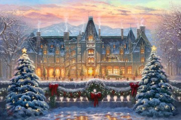 Thomas Kinkade Painting - Christmas at Biltmore Thomas Kinkade