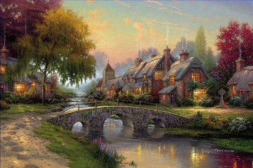 Cobblestone Bridge Thomas Kinkade Oil Paintings