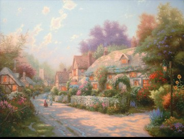 Cobblestone Village Thomas Kinkade Oil Paintings