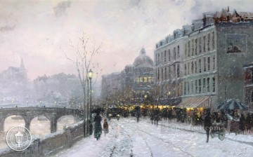 mornings on the seine monet Painting - Evening on the Seine Thomas Kinkade