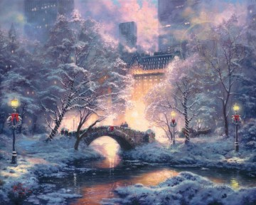 Thomas Kinkade Painting - Holiday at Central Park Thomas Kinkade