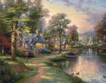 Lake Oil Painting - Hometown Lake Thomas Kinkade