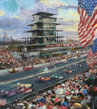 Thomas Kinkade Painting - Indianapolis Motor Speedway 100th Thomas Kinkade