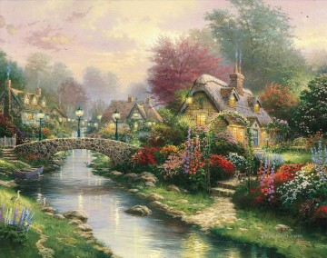 Lamplight Bridge Thomas Kinkade Oil Paintings