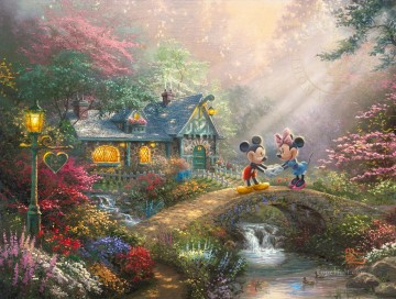 Thomas Kinkade Painting - Mickey and Minnie Sweetheart Bridge Thomas Kinkade