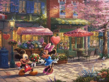 Mickey and Minnie Sweetheart Cafe Thomas Kinkade Oil Paintings