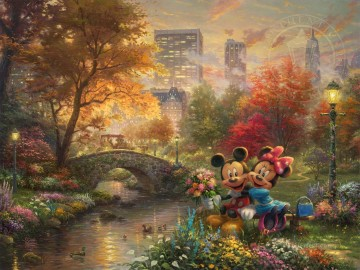 Mickey and Minnie Sweetheart Central Park Thomas Kinkade Oil Paintings