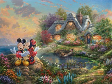 Mickey and Minnie Sweetheart Dope Thomas Kinkade Oil Paintings