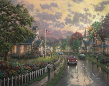 Thomas Kinkade Painting - Morning Pledge Thomas Kinkade
