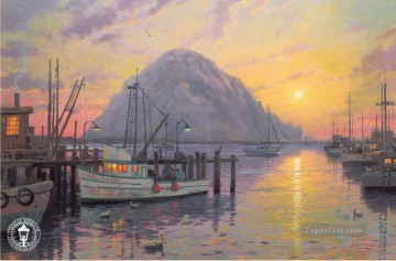 Kinkade Canvas - Morro Bay at Sunset Thomas Kinkade