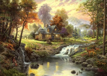 Mountain Retreat Thomas Kinkade Oil Paintings