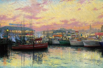 Thomas Kinkade Painting - San Francisco Fishermans Wharf Thomas Kinkade