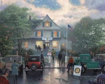 Thomas Kinkade Painting - The Rotary Club Meeting Thomas Kinkade