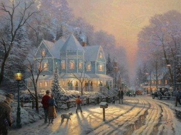 A Holiday Gathering Thomas Kinkade Oil Paintings
