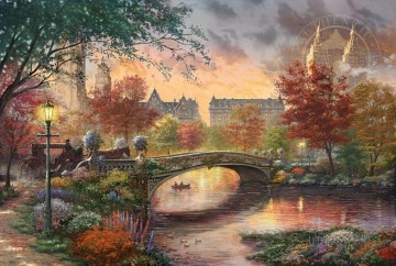 Thomas Kinkade Painting - Autumn in New York Thomas Kinkade