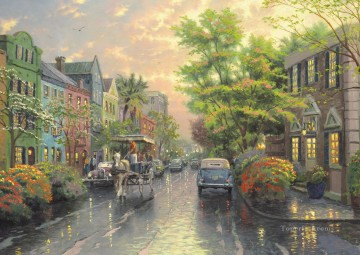 Sunset Art - Charleston Sunset on Rainbow Row Thomas Kinkade