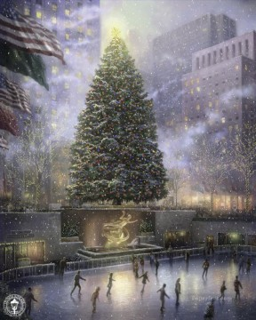 new orleans Painting - Christmas in New York Thomas Kinkade