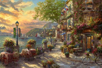 French Riviera Cafe Thomas Kinkade Oil Paintings