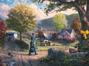 hero beijing opera jacky chen Painting - Homecoming Hero Thomas Kinkade