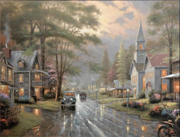 Hometown Evening Thomas Kinkade Oil Paintings