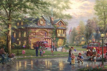 Thomas Kinkade Painting - Hometown Firehouse Thomas Kinkade