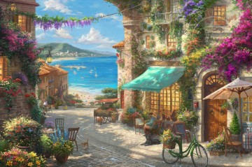 Italian Cafe Thomas Kinkade Oil Paintings