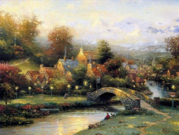 Kinkade Canvas - Lamplight Village Thomas Kinkade