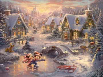 Mickey and Minnie Sweetheart Holiday Thomas Kinkade Oil Paintings