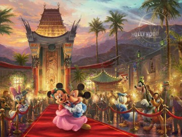 thomas kinkade Painting - Mickey and Minnie in Hollywood Thomas Kinkade