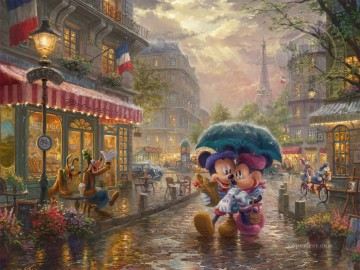 Thomas Kinkade Painting - Mickey and Minnie in Paris Thomas Kinkade