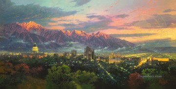thomas kinkade Painting - Salt Lake City of Lights Thomas Kinkade