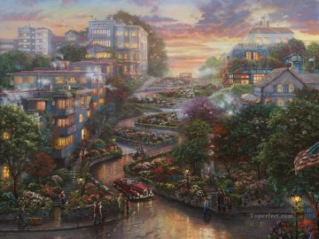 San Francisco Lombard Street II Thomas Kinkade Oil Paintings