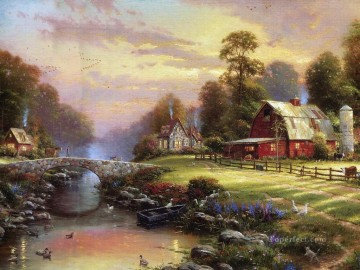 Kinkade Canvas - Sunset At Riverbend Farm Thomas Kinkade