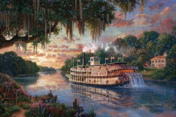 Thomas Kinkade Painting - The River Queen Thomas Kinkade