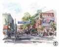 Yawkey Way watercolor Thomas Kinkade