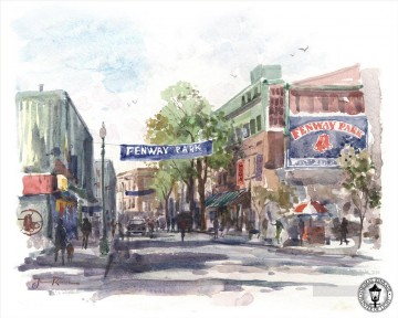 Thomas Kinkade Painting - Yawkey Way watercolor Thomas Kinkade