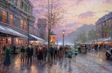 Thomas Kinkade Painting - Boulevard Lights Paris Thomas Kinkade