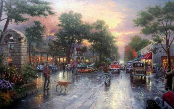 Kinkade Canvas - Carmel Sunset On Ocean Avenue Thomas Kinkade