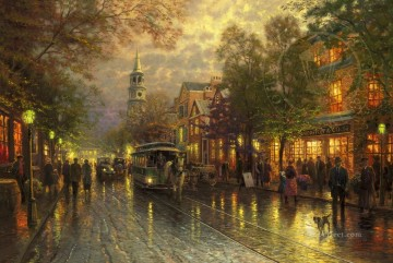Thomas Kinkade Painting - Evening on the Avenue Thomas Kinkade