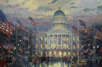 Thomas Kinkade Painting - Flags Over The Capitol Thomas Kinkade