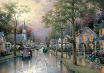 Kinkade Canvas - Hometown Morning Thomas Kinkade
