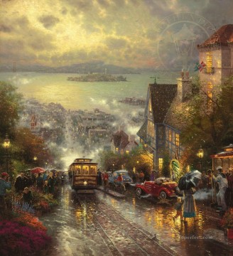 Thomas Kinkade Painting - Hyde Street And The Bay San Francisco Thomas Kinkade