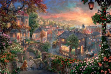 Lady and the Tramp Thomas Kinkade Oil Paintings