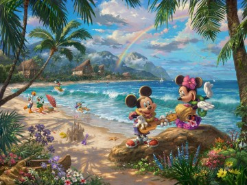 Thomas Kinkade Painting - Mickey and Minnie in Hawaii Thomas Kinkade