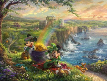 thomas kinkade Painting - Mickey and Minnie in Ireland Thomas Kinkade