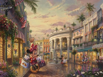 Thomas Kinkade Painting - Minnie Rocks the Dots on Rodeo Drive Thomas Kinkade