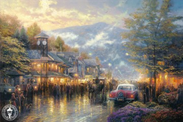Kinkade Canvas - Mountain Memories Thomas Kinkade