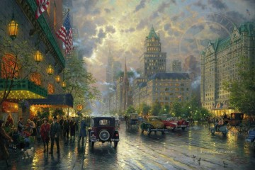 Kinkade Canvas - New York 5th Avenue Thomas Kinkade