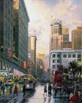 Thomas Kinkade Painting - San Francisco Late Afternoon at Union Square Thomas Kinkade