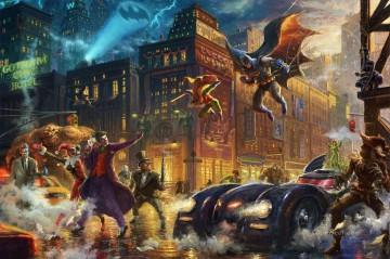 The Dark Knight Saves Gotham City Hollywood Movie Thomas Kinkade Oil Paintings